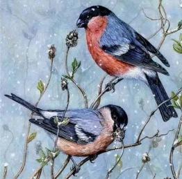 Leveranstid 1,5v. Fåglar, fyrkant, 50x50cm - Fåglar, 50x50cm fyrkantig pärla