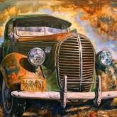 Vintage bil, fyrkant, 70x50cm
