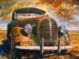 Leveranstid 1,5v - Vintage bil, fyrkant, 70x50cm - Vintage bil 70x50cm fyrkantig pärla