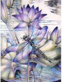 Trollsländan lila, fyrkant, 50x70cm - Trollsländan lila 50x70cm fyrkantig pärla
