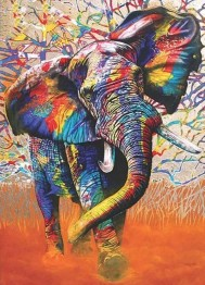 Leveranstid 1,5v - Elefant färgglad, fyrkant, 60x80cm - Elefant färgglad, fyrkant, 60x80cm