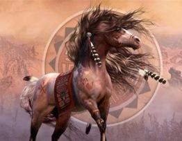 Leveranstid 1,5v. Indian häst, fyrkant, 80x60cm - Indian häst, fyrkant, 80x60cm