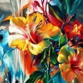 Blommor färgglad, fyrkant, 70x50cm