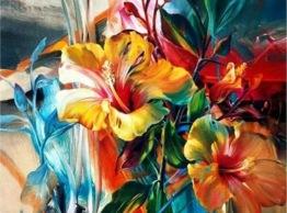Blommor färgglad, fyrkant, 70x50cm - Blommor färgglad, fyrkant, 70x50cm
