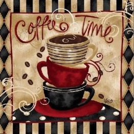 Coffee time, fyrkant, 50x50cm - Coffee time, fyrkant, 50x50cm