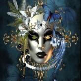 Mask, färgglad, fyrkant, 40x50cm