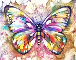 Leveranstid 1,5v - Fjäril färgglad, fyrkant, 30x30cm - Fjäril färgglad, fyrkant, 30x30cm