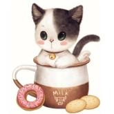 Katt i mjölk, rund, 30x30cm