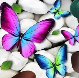 Leveranstid 1,5v - Fjäril i sten, fyrkant, 30x30cm - Fjäril i sten, fyrkant, 30x30cm