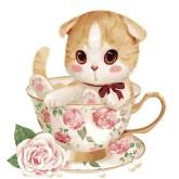 Katt i roskopp, rund, 30x30cm