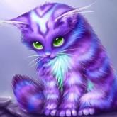 Lila katten, rund, 40x40cm
