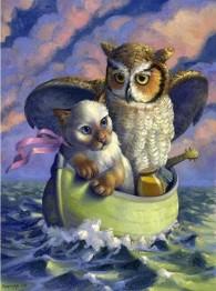 Ugglan med katten i båt, rund, 40x50cm - Ugglan med katten i båt, rund, 40x50cm