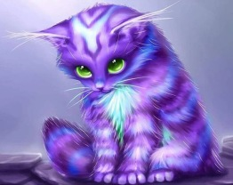 Leveranstid 1,5v - Lila katten, rund, 40x40cm - Lila katten, rund, 40x40cm