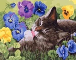 Katt i gräs, rund, 50x40cm - Katt i gräs, rund, 50x40cm