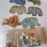 Nyckelring 5 pack elefanter