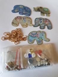 Nyckelring 5 pack elefanter - Nyckelring 5 pack elefanter