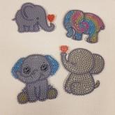 Nyckelringar 4 pack elefanter