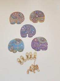 Nyckelring 5 pack elefanter indisk - Nyckelring 5 pack elefant indisk