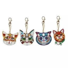 Nyckelring katter 4 pack. - Nyckelring 4 pack katter