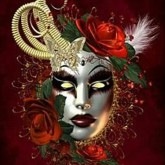 Mask röd, fyrkant, 50x60cm