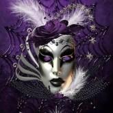 Mask lila, fyrkant, 50x60cm