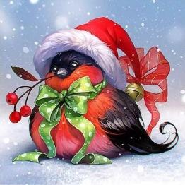 Julfågel, fyrkant, 40x40cm - Julfågel, fyrkant, 40x40cm