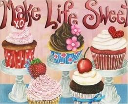 Cupcakes, fyrkant 60x50cm - Cupcakes, fyrkant 60x50cm