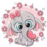 Elefant med hjärta, fyrkant, 40x40cm
