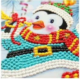 Julkort pingvin blå - Julkort pingvin 15x15cm