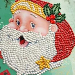 Julkort tomteansikte 15x15cm - Julkort tomte grön 15x15cm