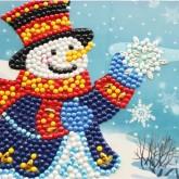 Julkort snögubbe 15x15cm