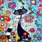Katt i blommor, fyrkant 25x30cm