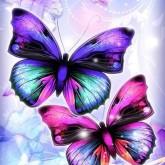 Fjärilar, fyrkant 25x30cm