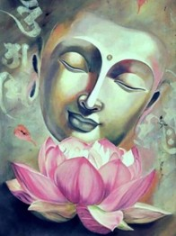 Buddha lotus, fyrkant 40x50cm - Buddha lotus