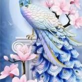 Fågel blå, fyrkant 40x60cm