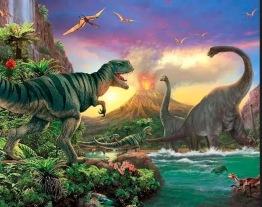 Dinosaurier, fyrkant 60x50cm - Dinosaurier, fyrkant 60x50cm