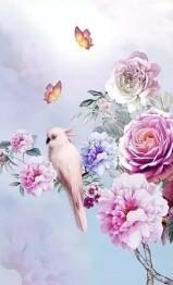 Fågel rosa, fyrkant 40x60cm - Fågel rosa, fyrkant 40x60cm