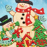 Julkort snögubbar 15x15cm