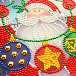 Julkort tomte, julkulor 15x15cm - Julkort tomte julkulor
