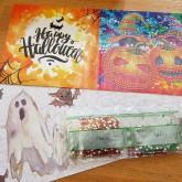 Halloween kort, pumpor 15x15cm