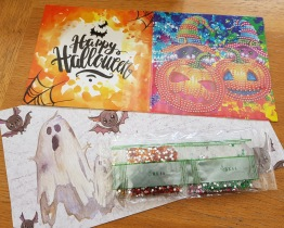 Halloween kort, pumpor 15x15cm - Halloweenkort pumpa