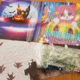 Halloweenkort, katt 15cm x 15cm
