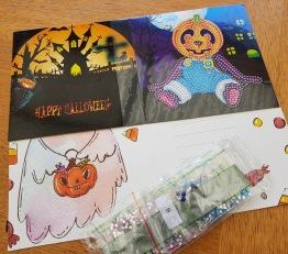 Halloweenkort, pumpa sittandes 15cm x 15cm - Halloweenkort pumpa sittandes