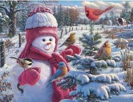Snögubbe fåglar, fyrkant 60x50cm - Snögubbe fåglar, fyrkant 60x50cm