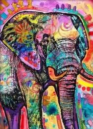 Leveranstid 1,5-2v - Indisk elefant färgglad, fyrkant 70x90cm - Indisk färgglad elefant 70x90cm