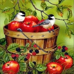 Röda äpplen, rund eller fyrkantig 40x40cm - Röda äpplen, rund 40x40cm