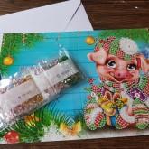 Julkort gris med paket