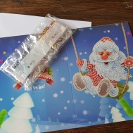 Julkort gungande tomte