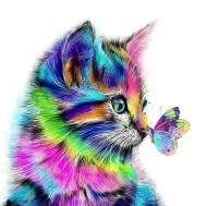 Färgglad katt, fyrkant 30x30cm