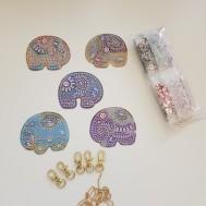 Nyckelring 5 pack elefanter indisk